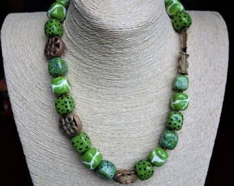 Kazuri ceramic and decorative brass beads from Ghana