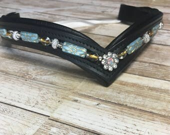 Hand Painted German Glass Beaded Browband