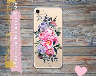 iPhone 7 Plus case Peonies flowers iPhone 7 clear case iPhone 6 / 6s / 6s Plus Case, iPhone 5s / 5 / SE Case,  iPhone case Plastic /rubber.