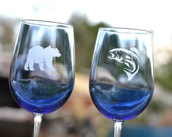 Blue Wildlife Wine Glasses