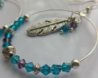 Large silver hoop earrings, blue and purple beads, silver feather drop earrings, gypsy, festival, summer, feather hoop earrings