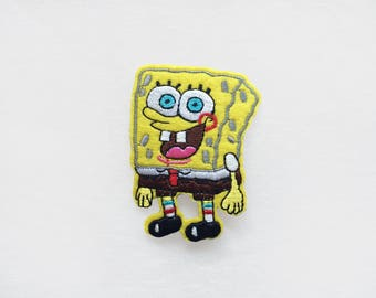 1x sponge bob PATCH Embroidery badge custom your clothes bag Iron On Embroidered Applique cartoon yellow silly character funny kid