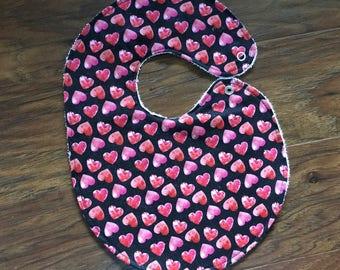Baby Bib, Girl Bib, Baby Shower Gift, Heart Bib, Red Bib, Pink Bib, Valentines Day, Love Theme, Handmade, Boutique Bib, Baby Branch Boutique