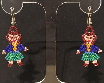 Brown/white/blue glass beads girl motif earrings