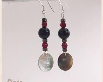 A925 earrings, black agate, fuchsia dyed agate, pyrite and Pearl