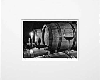 "Danilo Böhme ""Barrique"", Schwarzweiß-Fotografie, FineArt Print im Passepartout, Original, Vintage Print, Limitiert, Handsigniert"