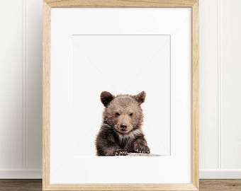 Baby Bear Digital Print, Printable Woodlands Nursery Decor, Bear Cub Wall Art, Printable Poster, Instant Digital Download Printable Art