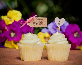 Bridal Shower Cupcake Toppers, Personalized