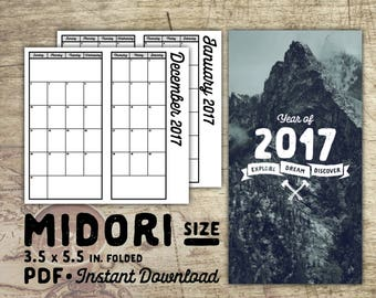 Printable Year Planner Insert, Midori Traveler's Notebook Insert, Midori Size Grid Insert for Traveler's Notebook Planner, Instant Download