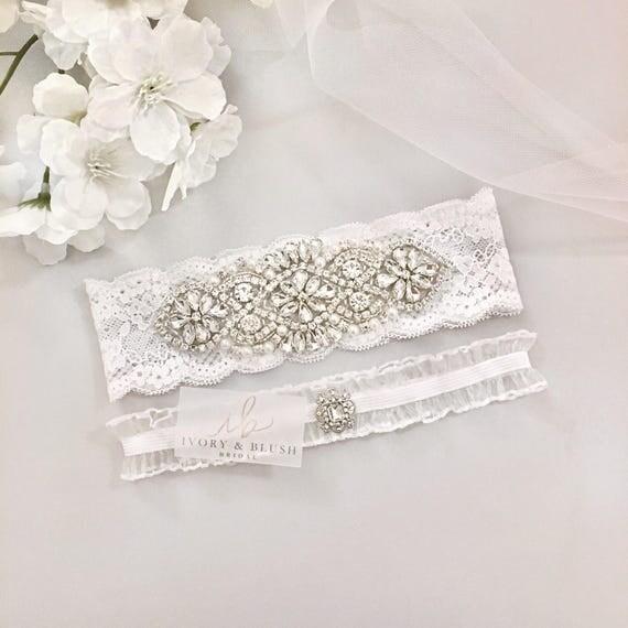 White Wedding Garter: Wedding Garter WHITE Bridal Garter Lace Garter Wedding Garter