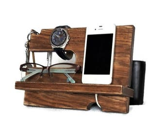 Wood Docking Station Charging Station Rustic style Ash Wood Docking stand Valet Glasses Holder Nightstand Organization iPhone Stand