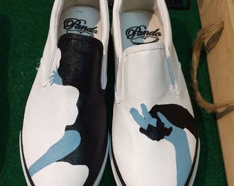 While loving painted Shoes, Custom painted Shoes, Slip-One painted Shoes