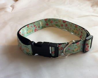 Large dog collar adjustable novelty mint green floral design
