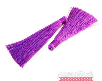Large tassel fringe - synthetic, Violet - 12cm