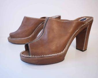 70s wedge platform vintage Leather Brown-camel/Faire Lady / made in Italy/new/wedge platform/heel tops/size 38/UK 6/US 8