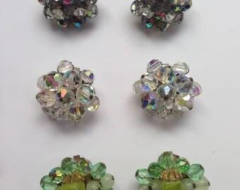 Clip on Aurora Borealis Earrings Lot of 3