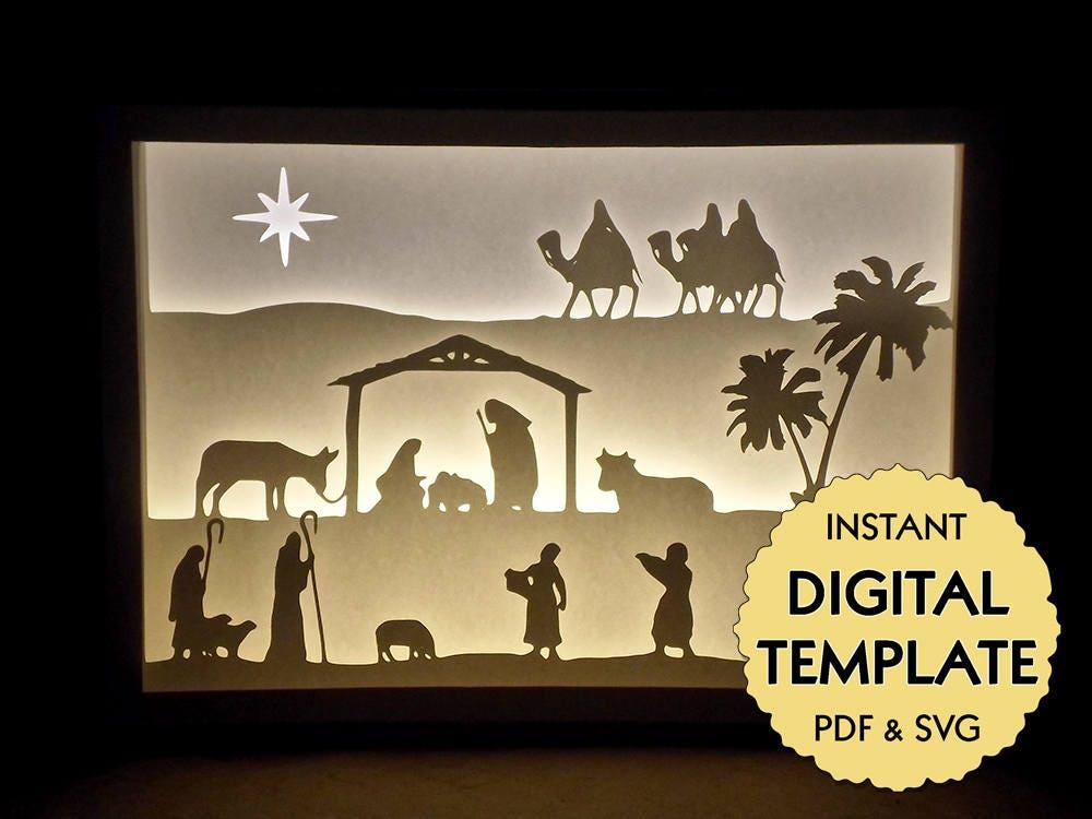 Template Christmas Nativity Paper Cut File, Silhouette Light Box Tutorial - PDF, SVG Digital ...