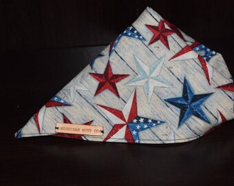 Red, white, and blue stars tie on bandana