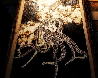 Blowing Off Steam - Octopus, Steampunk, Pyrography, Art