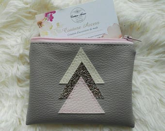 wallet imitation leather taupe and triangles copper and cream