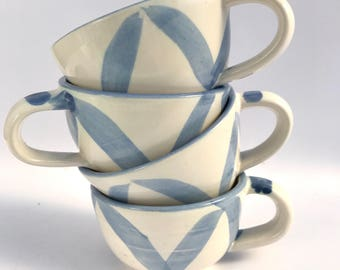Set of 4 wheel thrown ceramic stoneware mugs | FREE SHIPPING