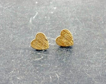Earrings 925 sterling silver gold plated heart Pearl
