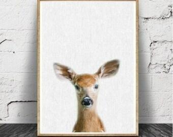 Impression papier, cerf, animaux de la forêt, chambre d'enfant murale Art déco, cadeau de Shower de bébé, fille, garçon, Large, bébé cerf