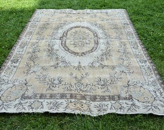 5.6' x 9' Very Unique Oushak Rug Vintage Rug Distressed Rug Decorative Wool Rug Area Rug Handmade Rugs Free Shipping Rugs Code 1102