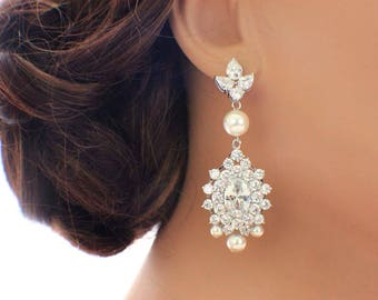 Statement wedding earrings, bridal chandelier earrings, long drop earrings, crystal earrings, CZ earrings, bridal jewelry, wedding jewelry