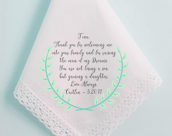 Wedding Handkerchief, Mother of the Groom Handkerchief, Mother in Law, Mom, Not loosing a son, but gaining a daughter, Custom, - 87