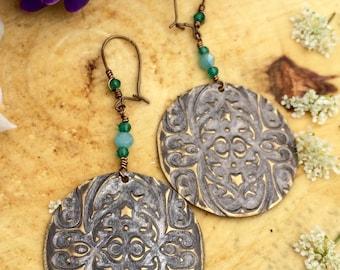 Embossed Brass Dangle Earrings