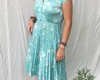 1970s pleated summer sundress size M/L