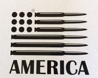 American flag bullet decal