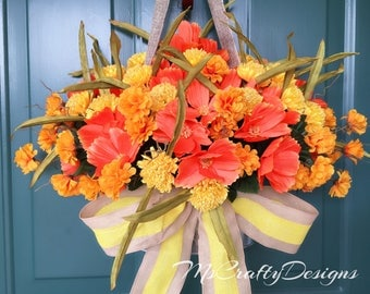 Flower Basket Wreath, Summer Wreath, Fall Wreath, Front Door Decor, Wall Decor, Flower Arrangement