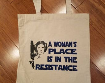A Woman's Place is in the Resistance Canvas Tote Bag