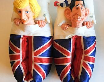 Vintage 1988 Lady Di Princess Diana Prince Charles Slippers Royalty England