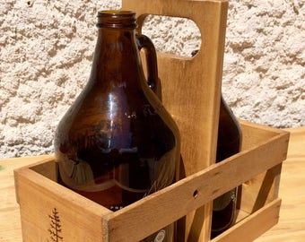 Handmade Growler Carrier | Hops and Pine | Craft Beer| Beer Carrier | Golden Pine | Assembled