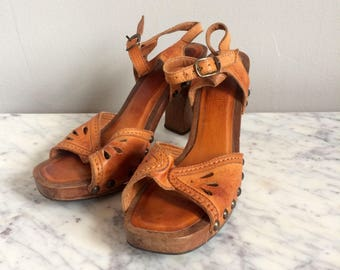 Vintage Wooden Leather Heels