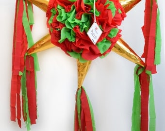 Floral star Piñata in red/green/gold