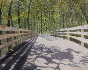 Bridge, watercolor, print, shadows, forest, trees