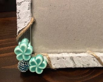 Picture Frame, Coastal, Summer, Flowers, Rope, Flower Picture Frame, 5/7 Picture Frame, Blue
