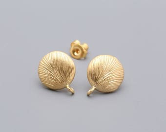 0434-Unique Round Ear post, Earring, Bridal CZ Earring, Matt Gold Plated over Brass, Cubic Zirconia Jewelry Finding -2 pieces