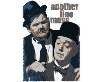 T-SHIRT: Laurel and Hardy / Another Fine Mess - Classic T-Shirt & Ladies Fitted Tee - (LazyCarrot)