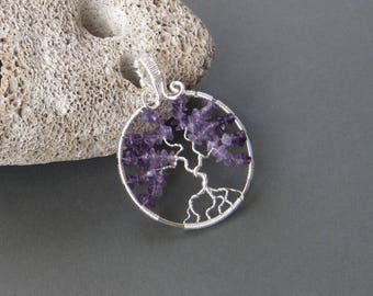 Wire wrapped tree of life pendant with amethyst stones