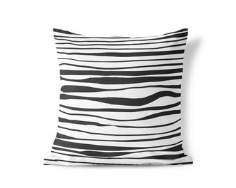 Striped Throw Pillow, Black and White Pillow, Decorative Pillows, Square Pillow, Pillows, Throw Pillows, Accent Pillow, Cushion, Home Décor