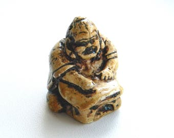 "Netsuke .. vintage miniature sculpture..Japanese national Art..Japanese Okimono/Netsuke..Gypsum miniature..""The writing boy"".."