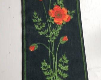 Vintage Swedish Wall Hanging / Poppy / Sampler