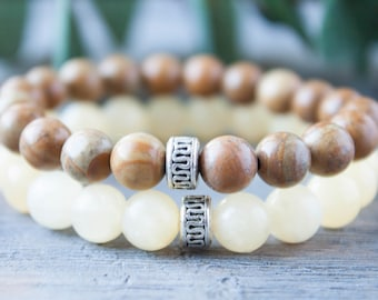 Beige and Brown Couples Bracelets His and Hers Long Distance Relationship Yellow Jade Wood Bracelet Boyfriend Girlfriend Matching Bracelets
