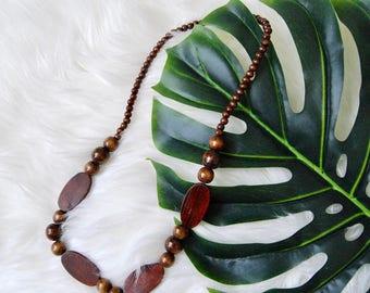 Vintage Wooden Boho Beaded Necklace
