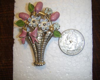 Vintage Flower Basket Brooch Posie's in a Basket Brooch Forget Me Nots and Rosebuds Brooch Pin